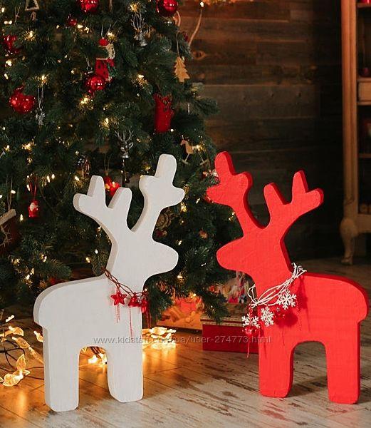 Объемные олени из пенопласта, новогодний декор из пенопласта