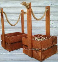 Красивое деревянное кашпо, корзинка, ящик с джутовой ручкой