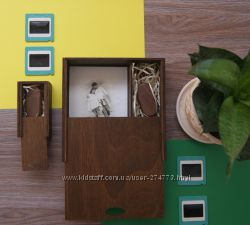 Деревянный футляр, коробка для фотографий 1015 и флешки