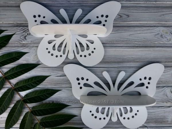 Деревянная настенная полка Бабочка белого цвета
