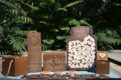 Свадебные аксессуары из дерева банка для пожеланий, топперы, казна, банка