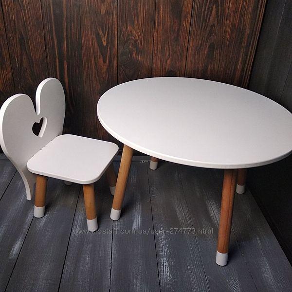 Красивый комплект детской мебели стол и стул Ангелок белого цвета