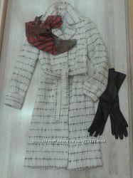 Стильное пальто-рогожка