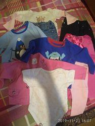 Пакет одежды на 6-9мес. - 9 вещей флисовые регланы, бодики, джинсы