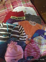 Пакет одежды на девочку 9-12 мес реглан, кардиган, брючки, юбка, шапки