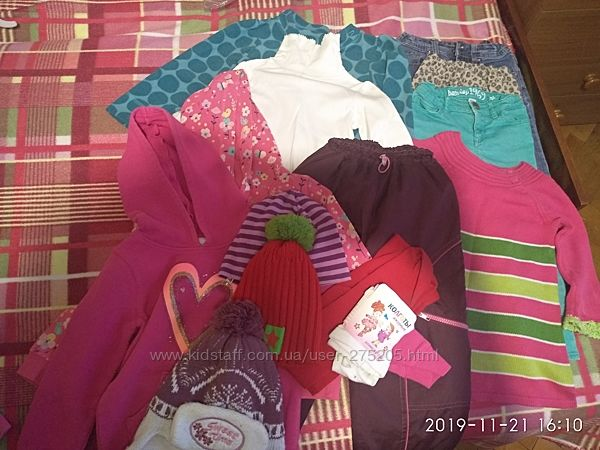 Пакет одежды на девочку 2-4 годареглан, джинсы, платье, шапки, толстовки