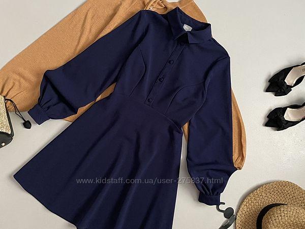 Роскошное плотное платье рубашка с объемным рукавом asos