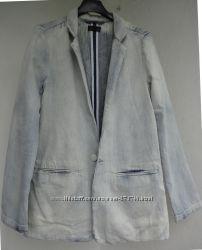 Крутой джинсовый пиджак, 100 коттон, р. S