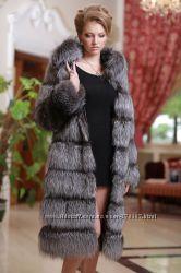 Шуба полушубок жилет из чернобурки перфорация silver fox fur coat vest