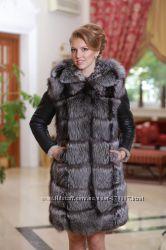 Шуба жилет из чернобурки и дубленочного меха Тоскана Silver fox fur coat