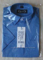 Рубашка детская синяя - короткий рукав - р. 110-152