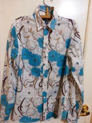 Красивая легкая рубашка в мятные нежные цветы  H&M S 170