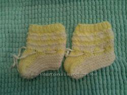 Теплые носочки-пинетки на 3-6 месяцев
