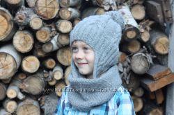 Шапка с ушками на озорного мальчишку из норвежской шерсти Ручная работа