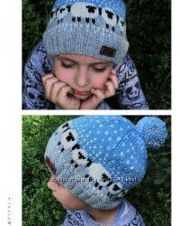 Зимняя шапка с нереально милыми овечками Шерсть премиум- класса