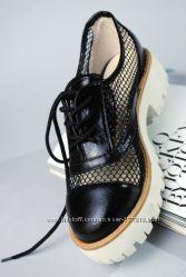 Крутые Мокасины Для Модницы Черные Сетка