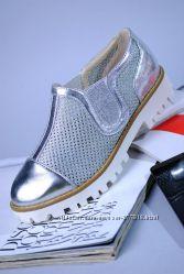 Моднейшие Мокасины Серебро Для Модной