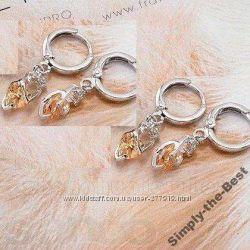 Серьги с камнями в форме сердца, Материал 10 К White Gold Filled.