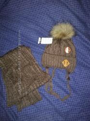 Arctic шапка зимняя с натуральным енотом шарф