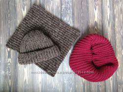 Компплект шапка-бини, Шарф-труба, полушерсть