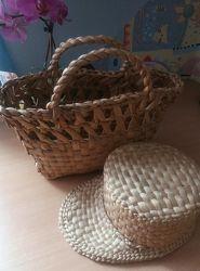 Комплект кепка канотье сумка корзинка с натуральной соломы