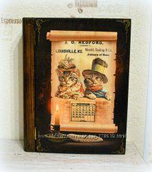Старинная винтажная Ключница в виде Книги. Декупаж.