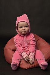 Розовый велюровый человечек 1, 5-3 месяца