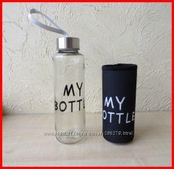 My Bottle Май Ботл Стеклянная ЭКО-бутылочка для воды, напитков, соков и др.