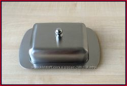 Маслёнка для хранения масла и сыров из нержавеющей стали.