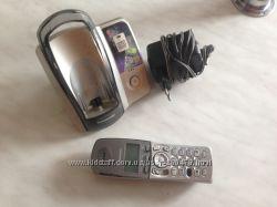 Серебристый Стационар Радио Телефон PANASONIC с базой и Блоком питания