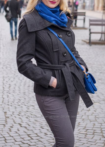 Качественное шерстяное пальто Zara, р. L