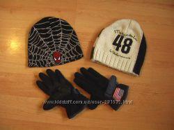 Шапки на мальчика H&M на 10-14 лет плюс перчатки флисовые с защитой
