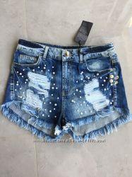 джинсовые шорты A. M. N с жемчужинами, р-р 28, фабричная Турция, Оригинал