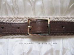 Ремень пояс комбинированный тканевый кожаный SM