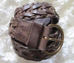 Ремень пояс коричневый кожаный плетеный Naf Naf