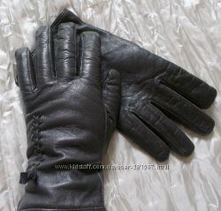 Перчатки темно-серые женские кожаные