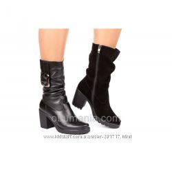 Кожаные замшевые сапоги Classic Fashion 6041. Все размеры