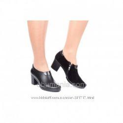 Кожаные туфли Classic Fashion 561черн. кожа, замш.  Все размеры