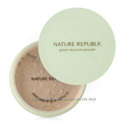 Рассыпчатая матирующая пудра NATURE REPUBLIC Botanical Green Tea Powder