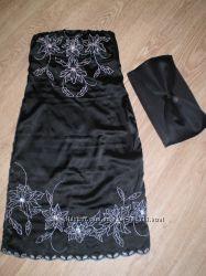 Коктейльное  платье бюстье миди