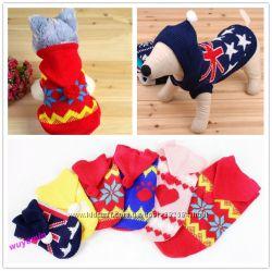 С капюшоном Свитер теплый вязанный  для собак котов одежда
