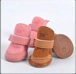Теплая обувь на меху  резиновой подошве для собак Угги