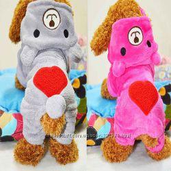 Медведь флисовый теплый костюм комбинезон для щенков котов собак