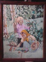 Вышивка Аленушка и братец Иванушка собирают грибы