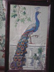 Величезна картина-вишивка хрестиком пава  павлин , жар-птиця