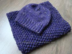 Комплект из шапки и шарфа-снуда