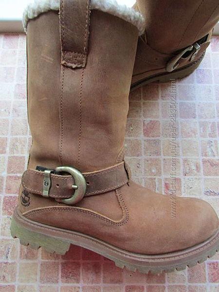сапоги кожаные девочковые Timberland длина по стельке 23,5 см Оригинал