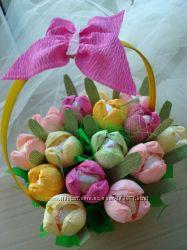 Цветы и букеты из конфет Рафаэлло