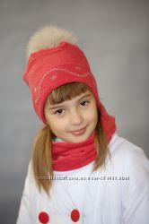 Зимние наборы шапка с натуральным помпоном
