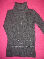 Детская теплая, вязанная туника, свитер для девочки.